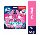 Domestos Power 5 Pink Magnolia Toilet Rim Block 3 x 55g