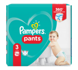 Pampers Pants Size 3, 26 Nappies, 6-11kg, Absorbing Channels