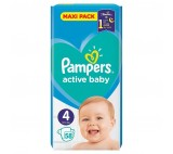 Pampers Active Baby Size 4, 58 Nappies, 9-14kg