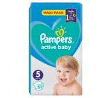 Pampers Active Baby Size 5, 51 Nappies, 11-16kg
