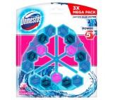 Domestos Power 5+ Blue Water Pink Toilet Block 3 x 53g