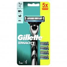 Gillette Mach3 Razor Handle + 5 Blade Refills