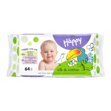 Happy Silk & Cotton Wet Wipes 64 pcs